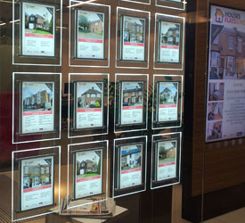 Light Panel Display in Estate Agent Window